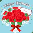 花束に誕生日カードを添えて