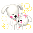 "3D WHITE DOG ""PEACE-K & HAPPY"" (1)"