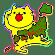 日本を旅行する黄色い猫