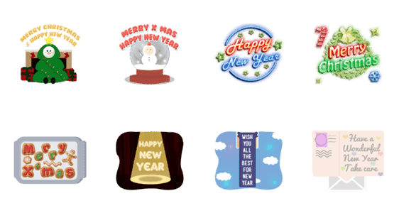 「Christmas and NewYear Greeting」のLINEスタンプ一覧