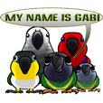The parrot's name is Gabi & his friends