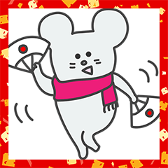 Polly mouse! New Year's Holiday Sticker.