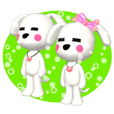 "3D WHITE DOG ""PEACE-K & HAPPY"" (2)"