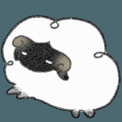 Dreaming fluffy sheep