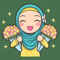 Flower Hijab 2 Line Stickers Line Store
