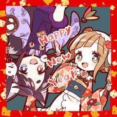 TANUKI girl & KITSUNE boy preium sticker