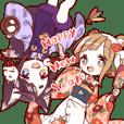 TANUKI girl KITSUNE boy preium sticker