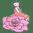 色鉛筆の花と妖精.