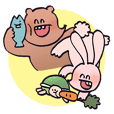 Rabbit & Bear Sticker