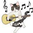 Cat music band motion sticker
