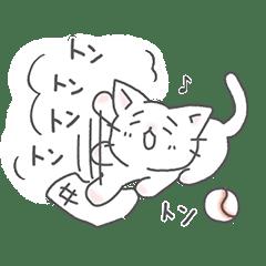 猫ピッチャーの「ありが10」記念スタンプ
