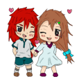 Chibi Boy and Girl in LOVE Set - THAI