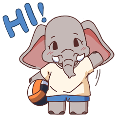 Little elephant with volleyball