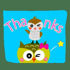 Joyful days of cute owls and sparrows