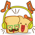 Mr and Mrs Toastee , cute toast sticker