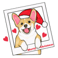 Merry Christmas Corgi sticker