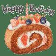 水彩生日蛋糕