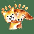 敬語犬 柴犬 ダックス 色鉛筆と水彩絵具