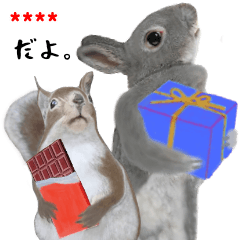 A squirrel and rabbit