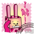 Rabbit & cat has become a stamp !