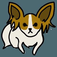 愛犬マロン(パピヨン)のスタンプ