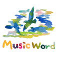 watercolors on music word