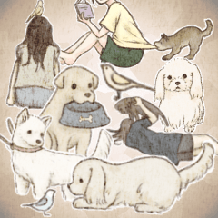 Everyday stickers of birds and dogs