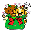 Christmas sticker of a pet