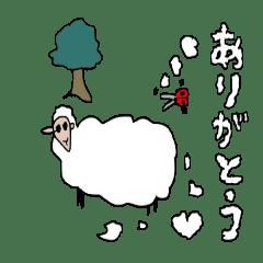 刈っている羊の毛が文字に…