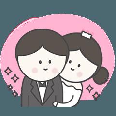 幸福的新郎新娘,婚礼表情符号