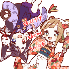 TANUKI girl KITSUNE boy preium sticker!
