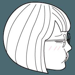 short hair girl with glasses