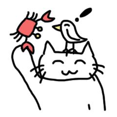 Smiling cat and small bird 2