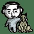 ハゲのおじさんと犬。