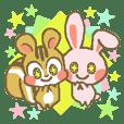 リスとウサギの普段使えるスタンプ