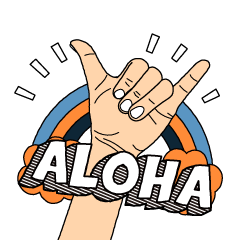 Hula girl and Hawaiian characters.