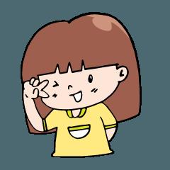 The girl wearing a yellow shirt