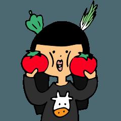 Veggies Greeting - MojiMoji Ushiko-san