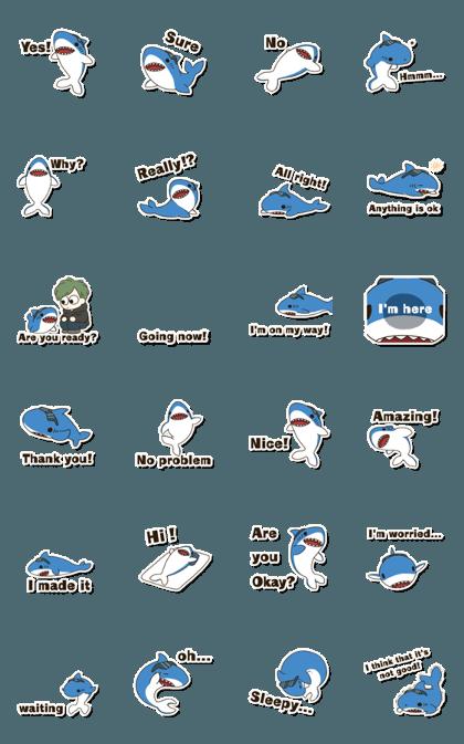 """可爱的鲨鱼""""Sharkun""""动画贴纸"""