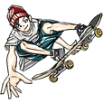 Skateboarder's sticker