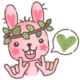 Hare Hooray - Pink Bunny with Leaf Crown