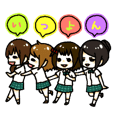 Girls Four people everyday Sticker 2