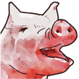 Watercolor Swine sticker