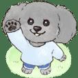 まるっこ犬 トイプードル(グレー/シルバー)