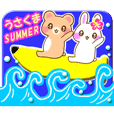 Rabbit and bear Love SUMMER sticker