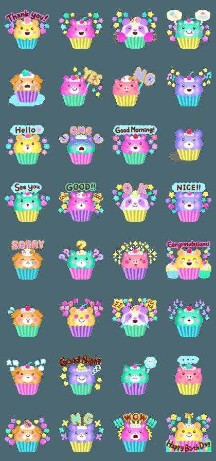 Cupcake Animals Stickers