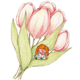 Elde and cute flowers
