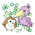 Shoebill and Owl