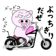 The pig began to ride a motorcycle 3rd
