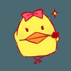 A cute chick making puns